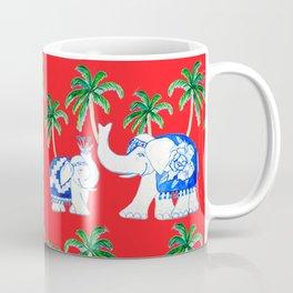 Chinoiserie elephants on red with palms Coffee Mug