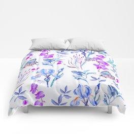 Modern purple blue watercolor hand painted orquid butterfly Comforters