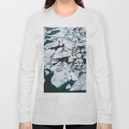 Icelandic glacier icebergs from above - Landscape Photography Long Sleeve T-shirt