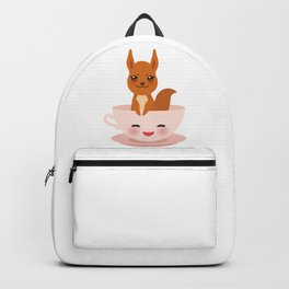 Cute Kawai pink cup with red squirrel Backpack
