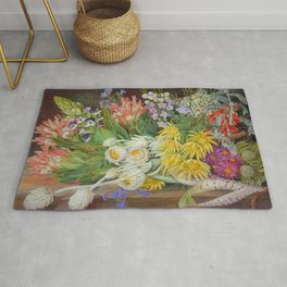 Medley of Wild Summer Mountain Flowers still life painting Rug