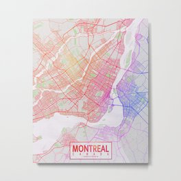 Montreal City Map of Canada - Colorful Metal Print