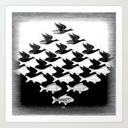 Escher - Sky and Water Art Print