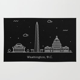 Washington D.C. Minimal Nightscape / Skyline Drawing Rug