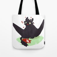 toothless Tote Bags featuring Toothless by Flora