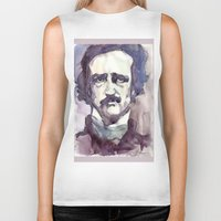 edgar allan poe Biker Tanks featuring Edgar Allan Poe by Germania Marquez