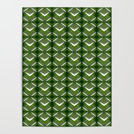 Grassy rhombuses of white stars with hearts in a bright intersection. Poster