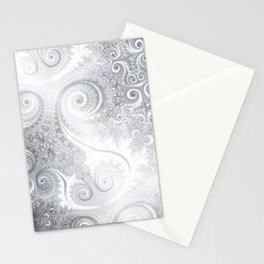 White Silver Fractal Spiral Glow Stationery Cards