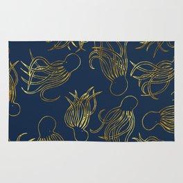 Gold Squid (Indigo) Rug