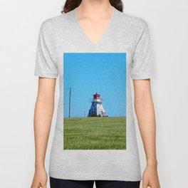 Electrified Lighthouse on the Ridge Unisex V-Neck