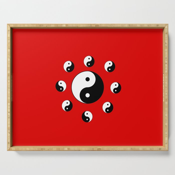 Yin and Yang 15- Tao,Zen,Taoism,Dao,Harmony,religion,buddhism,buddhist,taijitu,taiji,taoist,china Serving Tray