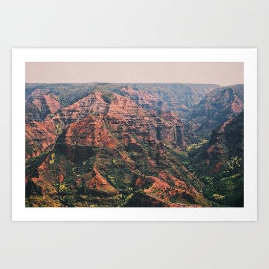 Vintage Hawaii Canyon Art Print