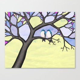 tree swallows in the stained glass tree Canvas Print