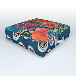 California Poppy and Wildflower Bouquet on Emerald with Tigers Still Life Painting Outdoor Floor Cushion