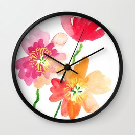 Dancing Poppies Wall Clock