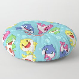 Blue Baby Shark Colorful Family Doo doo Pattern Floor Pillow