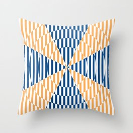 Crossing the lines - the blue and yellow  optical illusion Throw Pillow