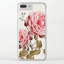 Dragonflies and Roses Clear iPhone Case