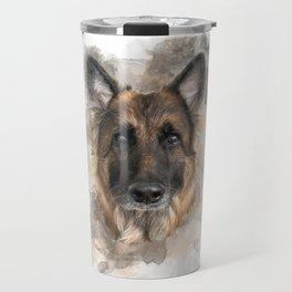 German Shepherd Neutral Watercolor Travel Mug