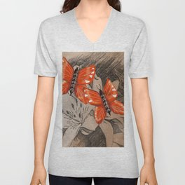 Butterflies and Lillies Unisex V-Neck