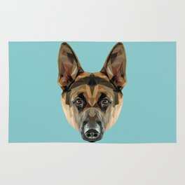 German Shepherd // Blue Rug