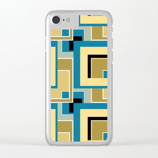 Olive and blue color in abstract painting . Clear iPhone Case