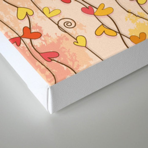 Heart and Spiral Botanic Pattern III - Fall Love Canvas Print