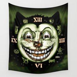 Black Cat 13 Halloween Clock Wall Tapestry