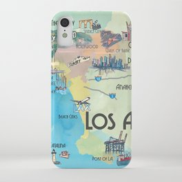 Greater Los Angeles Fine Art Print Retro Vintage Map with Touristic Highlights in colorful retro pri iPhone Case