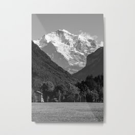 BW Post Card to Swiss Metal Print