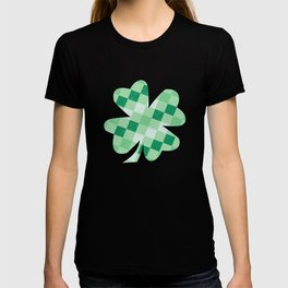 Checkered Shamrock. Four Leaf Clover. St Patrick's Day T-shirt