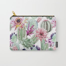 Watercolor Cacti, Opuntia, Colorful, Desert, Tropic Carry-All Pouch