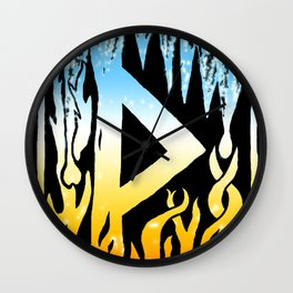 Thorn Rune with Ice and Fire Wall Clock
