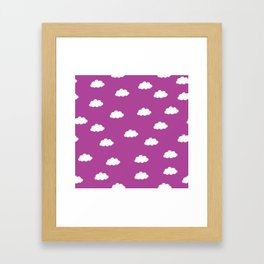 White clouds in purple pink background Framed Art Print