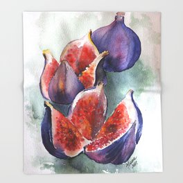 Fig Watercolor Fruits Throw Blanket