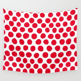 Juicy Red Apple Polka Dots with White Wall Tapestry