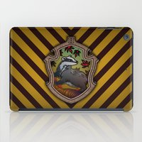 hufflepuff iPad Cases featuring Hogwarts House Crest - Hufflepuff by Teo Hoble