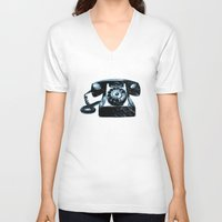 telephone V-neck T-shirts featuring Old Telephone by Mr and Mrs Quirynen