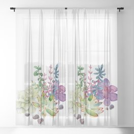 Succulents Sheer Curtain
