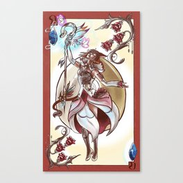Queen of Diamonds White Mage Canvas Print