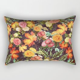 Autumn Flowers and Leaves Rectangular Pillow