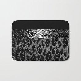 ANIMAL PRINT CHEETAH LEOPARD BLACK WHITE AND SILVERY GRAY Bath Mat