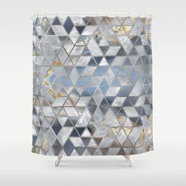 Geometric Translucent Agate And Mother Of Pearl Shower Curtain