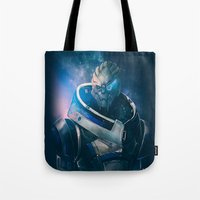 garrus Tote Bags featuring Garrus Vakarian - The Archangel by Anabel Amis Art
