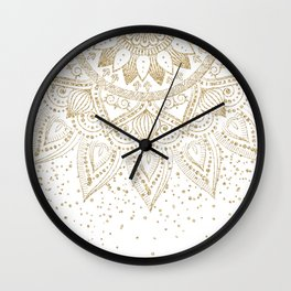 Elegant Gold Mandala Confetti Design Wall Clock