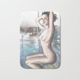 Original erotic watercolor painting NUDE GIRL POSING Waves Bath Mat