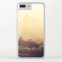 Rio de Janeiro Skyline With Christ the Redeemer in Yellow Afternoon Light Clear iPhone Case