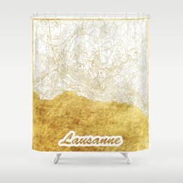 Lausanne Map Gold Shower Curtain