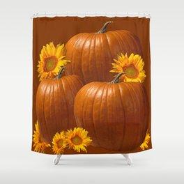 FALL HARVEST SUNFLOWERS PUMPKINS GARDEN ART Shower Curtain