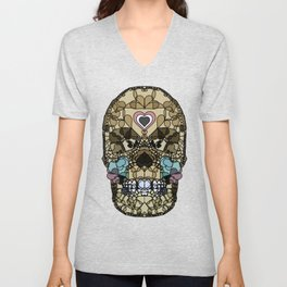 Say It with Skull and Hearts Unisex V-Neck